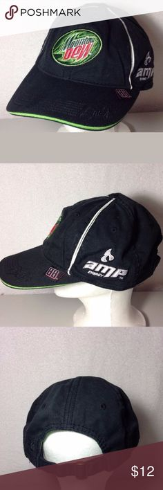 Dale Earnhardt Jr NASCAR Mountain Dew Hat Nice hat made by Chase Authentics. 100% cotton. adjustable strap.  Thanks for viewing Chase Authentics Accessories Hats