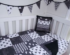 Patchwork cot quilt in Black White & Grey Monochrome with