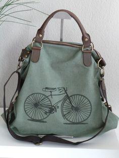 ITALY Messenger Shopper Tasche Canvas Salbei grün Leder RETRO BIKE Fahrrad NEU