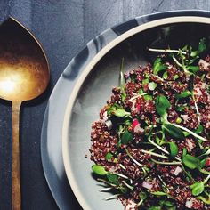 Red Quinoa, Radishes, Sunflower Microgreens & Pickled Garlic Scape Salad via @feedfeed on https://thefeedfeed.com/wholegrainsalads/feedmedearly/red-quinoa-radishes-sunflower-microgreens-pickled-garlic-scape-salad