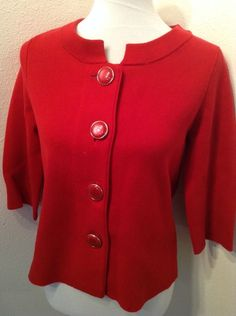Chicos Red Cardigan Jacket 3/4 sleeve Button Front Size 0 #Chicos #Cardigan