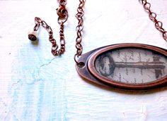 Frame Pendant Necklace - old key. $32 #key #necklace #vintage #copper