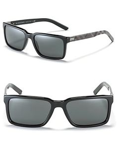 5c710a9714 Mens Burberry London Rectangle Sunglasses With Check Temples