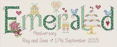 Emerald 55th Anniversary Cross Stitch Kit £18.95 | Past Impressions | Nia