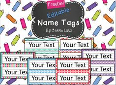 EDITABLE!!   Chevron, Dots or Rainbow....Simple Name Tags Type in student's names. :)  6 styles to choose from.  Just print and write/ or type. If a child ruins one during the year, just print another one. No need to go back to the store!   Check out this classroom décor: Turquoise Chevron Phonics Posters Chevron Alphabet Classroom Decor with Activities