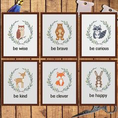 Set of 6 cross stitch patterns Woodland Animals cross stitch pattern Fox Bear Raccoon Deer Owl Bunny Fawn Woodland animals Nursery decor Baby Cross Stitch Patterns, Cross Stitch Baby, Cross Stitch Animals, Baby Patterns, Cross Stitch Designs, Cross Patterns, Baby Embroidery, Cross Stitch Embroidery, Embroidery Patterns