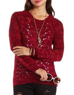 Marled Cable Knit Pullover Tunic Sweater: Charlotte Russe