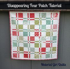 "After showing my latest baby quilt top, some of you asked how to make the disappearing four patch blocks.  So I decided to create a little tutorial.  My version uses 5"" squares, so it works great w..."