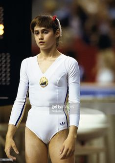 News Photo : Romania Nadia Comaneci during competition at the...