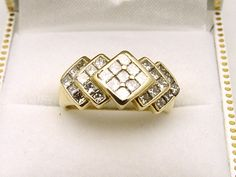 14K Yellow Gold 29 Princess Cut Diamonds 1.25TDW Dinner Ring - Appraised $2680 #YYJ #shoplocal
