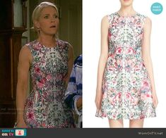 Jennifer's floral printed fit and flare dress on Days of our Lives.  Outfit Details: https://wornontv.net/58060/ #DaysofourLives  Buy it here: http://wornon.tv/36410