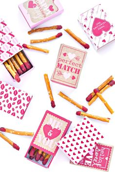 "Valentine's Pretzel Matchboxes ""We Make the Perfect Match"""