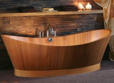 If the idea of a white plastic bathtub seems a bit predictable, interior wooden bathtubs take modern bathrooms to a whole new level of luxury with exotic w