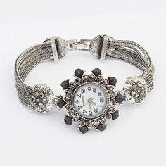 Scrapbooki Black Diamond Decorated Flower Design Alloy Ladies Watches http://earrings.asumall.com/