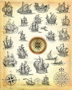 pirate ships and compasses Pirate Ship Tattoos, Pirate Tattoo, Symbol Tattoos, Gun Tattoos, Bear Tattoos, Ankle Tattoos, Arrow Tattoos, Word Tattoos, Pirate Ship Drawing