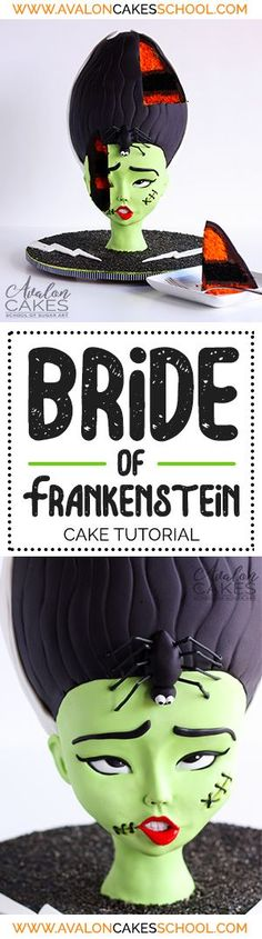 Bride of Frankenstein CAKE tutorial, Bridey is perfect for a Halloween Party or a halloween birthday party... or use these techniques to create a cartoon bust! ALL cake! Step by step VIDEO tutorial! http://avaloncakesschool.com