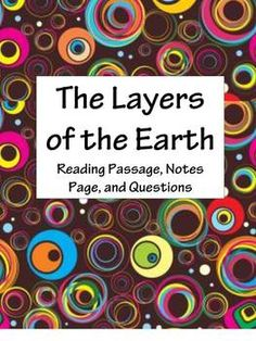 Compositional Layers of the Earth: Science Reading Passage Set Geography Lessons, Science Lessons, Science Student, Middle School Science, Outer Core, Plate Tectonics, Background Information, Reading Lessons, Reading Passages