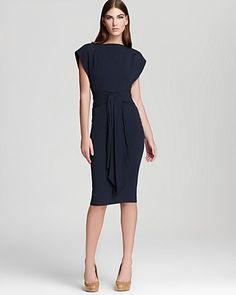 Zac Posen Satin Dress - Crepe Back with Detail Waist | Bloomingdale's