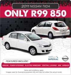 2011 Nissan Tiida available for R99 850. Aircon, Power steering, Central Locking, Electric Windows, ABS and Airbags.