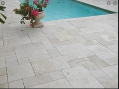 Deck And Patio Combo Ivory Travertine Paver.Travertine Pool Deck Travertine Pavers For Pools Deck . Lowest Prices On Travertine Marble Tile Travertine Pavers . Ivory Tumbled Travertine Pool Deck Tiles And Pavers . Home and furniture ideas is here Outdoor Tiles, Outdoor Flooring, Outdoor Pool, Outdoor Paving, Pool Pavers, Backyard Pool Landscaping, Paver Deck, Landscaping Ideas, Pool Coping