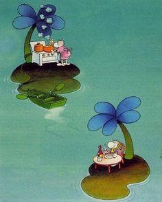 Art Espagnole, The Castaway, Satirical Illustrations, Humor Grafico, Cartoon Art, Graphic, Smurfs, Folk Art, Fairy Tales