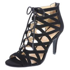 """Step up your classy style with this designer pump from Christian Siriano! It features a faux suede upper with a lace-up caged design, a zipper at the heel for easy on/ off, a 4"""" wrapped heel, printed jersey lining, padded insole, and rubber outsole. Manmade materials."""