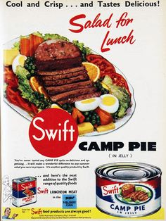 Cool and crisp and tastes delicious! Camp Pie (in jelly) salad. 1955.  If it's IN JELLY you know it's good.