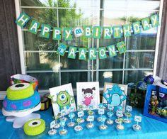 Monsters Inc Large table decorations by SistersBCDesigns on Etsy, $25.00