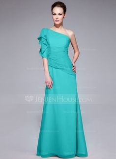 ac491fb6e1   116.99  Trumpet Mermaid One-Shoulder Floor-Length Chiffon Evening Dress  With Ruffle Cascading Ruffles (017062985)