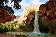 """Havasu Falls in Arizona is paradise on Earth. It is an incredible  waterfall located in the Grand Canyon, Arizona. Even though it's not easy  to hike there, this place is definitely worth a visit.  Havasu Falls is part of the Havasupai American Indian  Reservation.Havasupai means """"people of the blue-green water"""", an apt  description when you see the lustrous, natural water colour.The hike  starts at Hualapai Hilltop, which is a hundred miles from civilization -be  well prepared before…"""