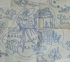 Vintage Reveille Embroidery Transfer Crinoline Lady Wishing Well