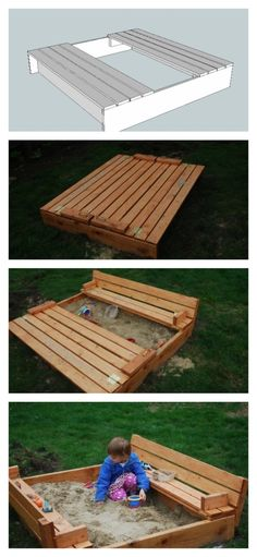 Build a Sand box with built-in seats (closes so the cats can't use it) - Free and Easy DIY Project and Furniture Plans - from Ana White Ana White, Funky Junk Interiors, Furniture Plans, Kids Furniture, Pallet Furniture, Outdoor Furniture, Rustic Furniture, Furniture Makeover, Vintage Furniture