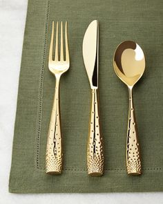 Love love these Five-Piece+Golden+Dazzle+Flatware+Place+Setting+by+Nambe+at+Neiman+Marcus.