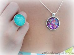 Nail polish jewelry by Beads Ink. love it! must try! www.eCrafty.com for glass tiles, bezels, bails, jewelry supplies