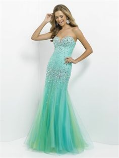 Elegant Strapless Sweetheart Beadings Mermaid Prom Dress PD2767