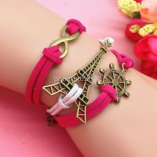 NEW Infinity rudder Eiffel Tower Leather Cute Charm Bracelet plated Silver A147