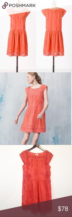 Watermelon Ice Dress by Meadow Rue This is a gorgeous orange/coral dress by Meadow Rue for Anthropologie. I need one in a 2/4!  Coloring is somewhere between stock photos and my own, probably a tad closer to mine. ❤️ Anthropologie Dresses Midi