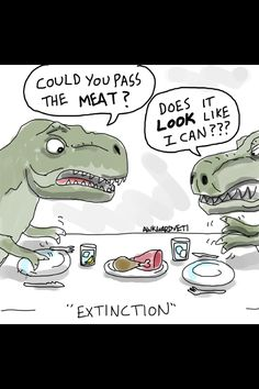 Haha T-Rex jokes never get old! Funny Comics from Awkward Yeti - Snappy Pixels T Rex Humor, Science Comics, Science Jokes, Funny Cartoons, Funny Comics, Cartoon Humor, Funny Meme Pictures, Funny Memes, Funny Cute