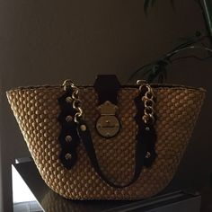 Authentic Michael Kors Straw An Leather Bag