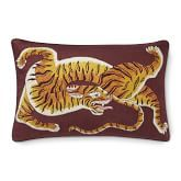 Dharma Tiger Embroidered Lumbar Pillow Cover, Grey