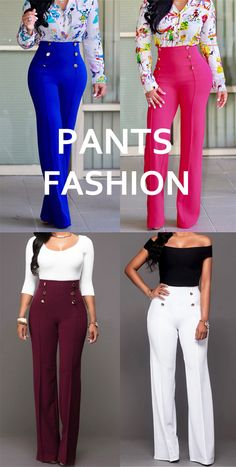 These classic high waist pants are an enduring style staple and a must in any fashionista's closet and we think this pair with their chic metal buttons will be a go-to for you too! Simple Outfits, Classy Outfits, Stylish Outfits, Cute Outfits, Fall Fashion Trends, Autumn Fashion, Fashion Ideas, Fashion Pants, Fashion Outfits