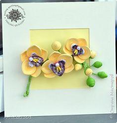 Картина панно рисунок День рождения Квиллинг Орхидеи Картина Бумажные полосы фото 4