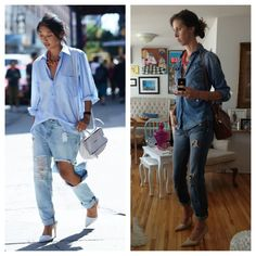 Day 6 of the VSL Pinterest Project has me embracing my roots in a rough and tumble take on the 'Canadian tuxedo', denim on denim. I decided to avoid the whole, wearing my dad's shirt look, and keep it frame conscious. Nude pointy toe pumps, a bright coral necklace and a nod to Hermes Kelly bag slung across my shoulder have me looking, 'I just don't care' cool, and errand ready.