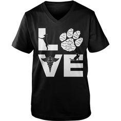 Veterinary Love Dog Cat guy v-neck