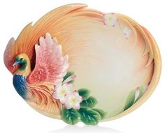 Franz Porcelain Collection Shangri-La Bird Of Paradise Flower Large Tray