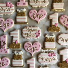 Pink and gold birthday party. Pink and gold decorated cookies