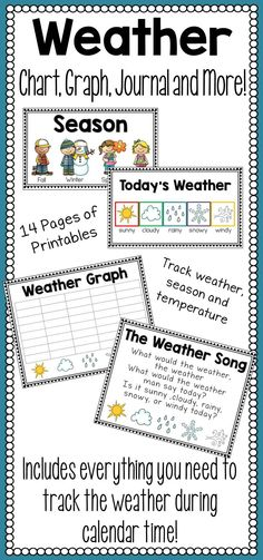 Weather Set - Charts, Song, Graph, and More!  This weather set is a great addition to a classroom calendar time! Everything that you need to create a special time to learn about weather in your classroom is included in this set. Decorate a space of your classroom with these interactive posters about weather, seasons, and temperature. Students will love singing the weather song, graphing today's results, and recording it on their weather journal page!