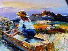 Sula Braga....Laços de Amor!: Art Christian Jequel Pablo Picasso, Acrylic Painting Techniques, Pour Painting, Illustrations, Impressionism, Female Art, Landscape Paintings, Arts And Crafts, Watercolor
