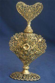 Vintage Gold Gilt Filigree Perfume Bottle Heart Shaped | eBay