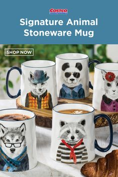 Signature Animal Stoneware Mug, Set Stoneware ounce CapacityMicrowave SafeHand Wash Only Stoneware Mugs, Costco, Cool Gifts, Shop Now, Tableware, Fun, Inspiration, Animals, Decor